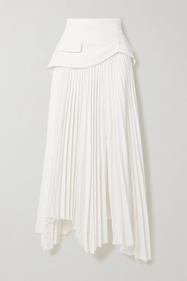 A.W.A.K.E. Mode Asymmetric Layered Pleated Twill Skirt - White