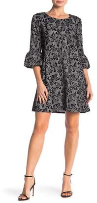Nina Leonard Floral Plaid Bell Sleeve Shift Dress