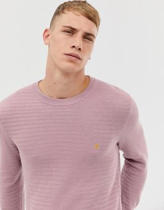 Farah Darren horizontal ribbed sweater in pink