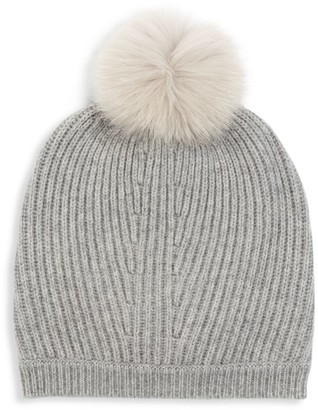 Max Mara Fox Fur Pom-Pom Ribbed Beanie