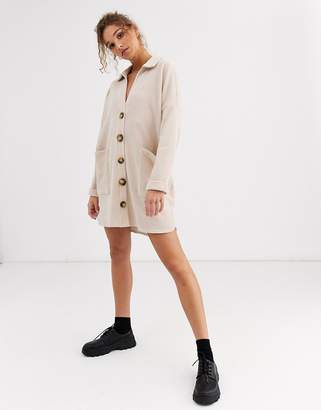 Asos Design DESIGN slouchy mini cord shirt dress-Beige