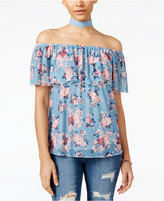 Ultra Flirt Juniors' Floral-Print Off-The-Shoulder Top