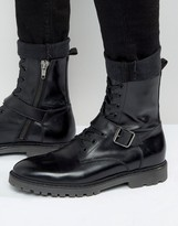 Asos Lace Up Boots In Black Leather With Strap Detail