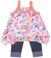 Little Lass Neon Orange Floral Tank & Denim Capri Pants - Girls