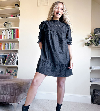 Reclaimed Vintage inspired dobby mini dress with pintuck detail in black