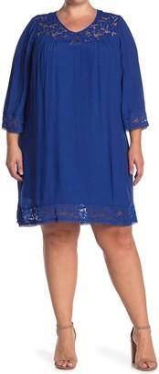 Sharagano Lace Trim 3/4 Sleeve Shift Dress