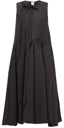 Rochas Bow-embellished Faille Midi Dress - Womens - Black