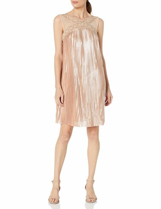 Jax Women's Sleeveless Pleated Foil with Power Mesh Neckline