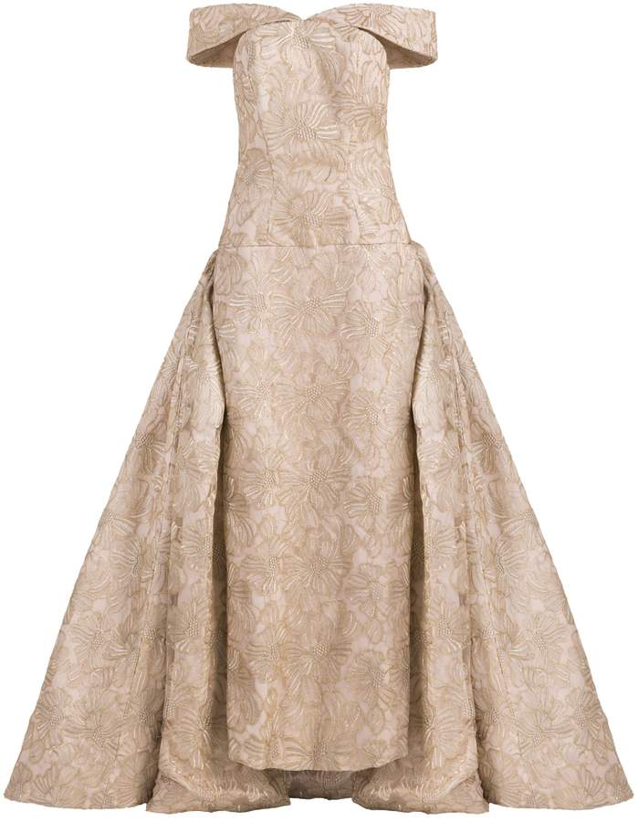 Christian Siriano Off Shoulder Overlay Gown