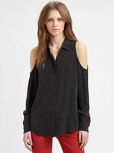 Equipment Nixie Cutout Silk Shirt