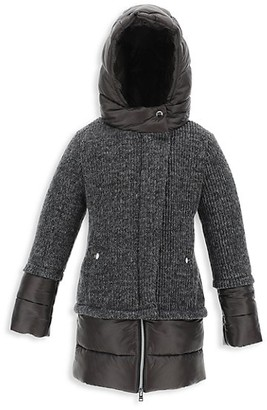 Herno Girl's A-Line Hooded Lurex Knit Parka
