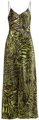 Ganni Tiger-print Silk-blend Satin Slip Dress - Womens - Black Green