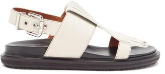 Marni Fringed Leather Slingback Sandals - White