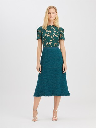 Oscar de la Renta Guipure and Tweed Dress