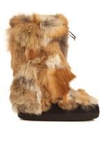 Danny patchwork fox-fur snow boots