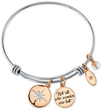 """Unwritten Not All Who Wonder Are Lost"""" Crystal Star Bangle Bracelet in Stainless Steel & Rose Gold-Tone Stainless Steel"""
