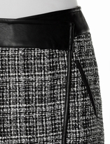 The Limited OBR Faux Leather Trim Tweed Mini Skirt