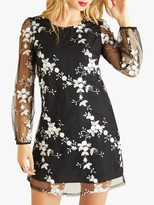 Yumi Embroidery Sequin Tunic Dress, Black