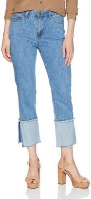 EVIDNT Women's HIGH Waist Denim Jeans with Frayed Cuff Hem