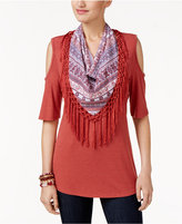 Style and Co Detachable Scarf Cold-Shoulder Top, Only at Macy's