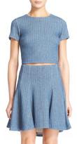 Alice + Olivia Sarina Woven Linen Blend Crop Top