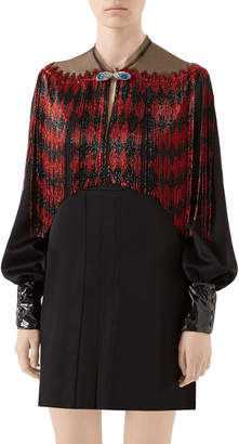 Gucci Diamond Beaded-Fringe Mini Dress