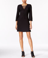 Kensie Ribbed Lace-Up Dress