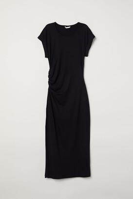 H&M Draped Jersey Dress - Black