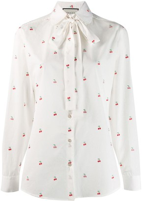 Gucci cherry embroidered blouse