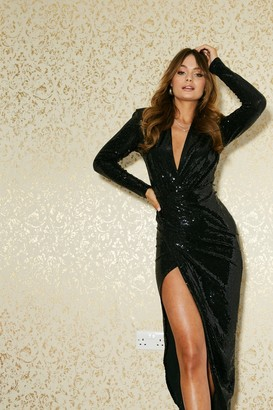Girls On Film Divine Black Sequin Midi Wrap Dress