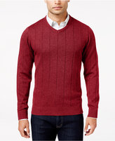 John Ashford Men's V-Neck Striped-Texture Sweater, Only At Macy's