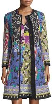 Etro Floral-Patchwork Topper Coat, Blue/Purple