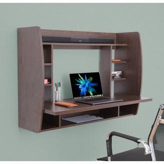 Latitude Run Amon Floating Desk with Hutch Latitude Run Color: Brown