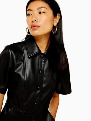 Topshop PU Shirt Dress - Black