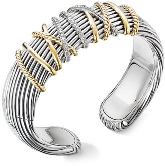 David Yurman Helena Diamond, 18K Yellow Gold & Sterling Silver Cuff Bracelet
