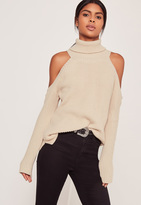 Missguided Nude Chunky Cold Shoulder Sweater