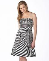 Dzzire striped strapless gown