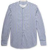 Massimo Alba Kos Grandad-Collar Striped Cotton-Jacquard Half-Placket Shirt