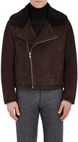 Cifonelli Men's Shearling-Collar Suede Bomber Jacket-BROWN
