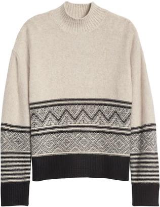 Banana Republic Petite Fair Isle Mock-Neck Sweater