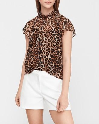 Express Leopard Print Ruffle Mock Neck Sheer Top