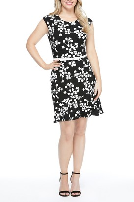 London Times Ruffle Hem Belted Cap Sleeve Dress (Petite)