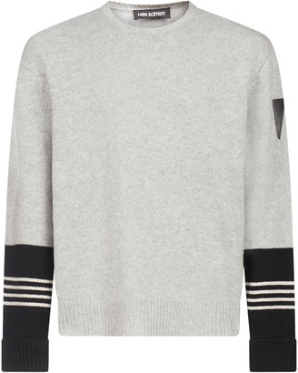 Neil Barrett Striped-detail Wool And Cashmere Sweater
