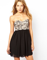 Motel Skater Dress With Lace