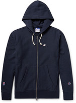 Beams + Champion Printed Cotton-Jersey Zip-Up Hoodie