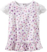 Osh Kosh Toddler Girl Eyelet Sleeve Floral Top
