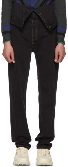 Y/Project Black Long Crotch Jeans