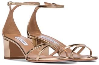 Aquazzura Purist 50 metallic leather sandals