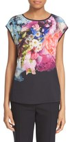 Ted Baker Women's 'Verena' Floral Print Mixed Media Tee