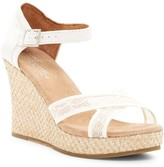 Toms Lace & Grosgrain Ribbon Wedge Wedding Sandal